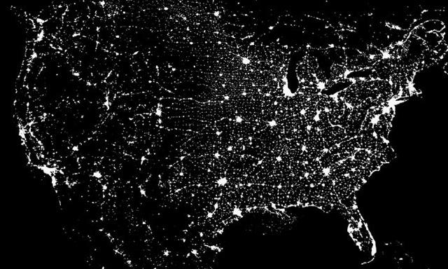 NASA photo of the United States at night